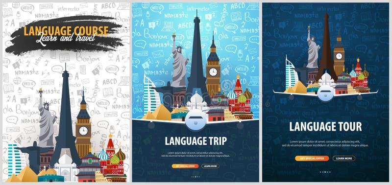 Viaje de la lengua, viaje, viaje Aprendizaje de idiomas Ejemplo del vector con los elementos del garabato del mano-drenaje en el  libre illustration