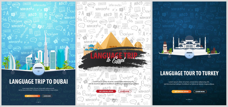 Viaje de la lengua, viaje, viaje a Dubai, Turquía, Egipto Aprendizaje de idiomas Ejemplo del vector con garabato del mano-drenaje stock de ilustración