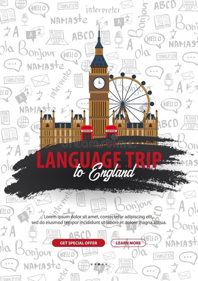 Viaje de la lengua, viaje, viaje a Inglaterra Aprendizaje de idiomas Ejemplo del vector con los elementos del garabato del mano-d ilustración del vector