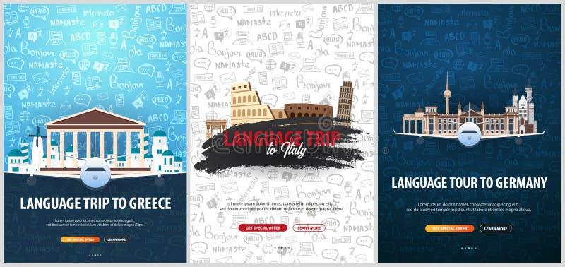 Viaje de la lengua, viaje, viaje a Italia, Grecia, Alemania Aprendizaje de idiomas Ejemplo del vector con garabato del mano-drena stock de ilustración