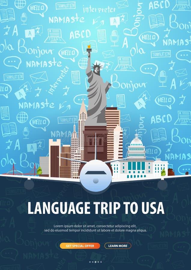 Viaje de la lengua, viaje, viaje a los E.E.U.U. Aprendizaje de idiomas Ejemplo del vector con los elementos del garabato del mano libre illustration