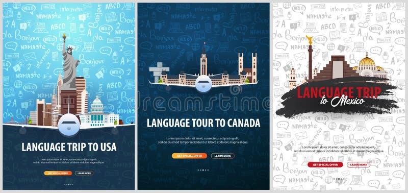 Viaje de la lengua, viaje, viaje a los E.E.U.U., Canadá, México Aprendizaje de idiomas Ejemplo del vector con garabato del mano-d libre illustration