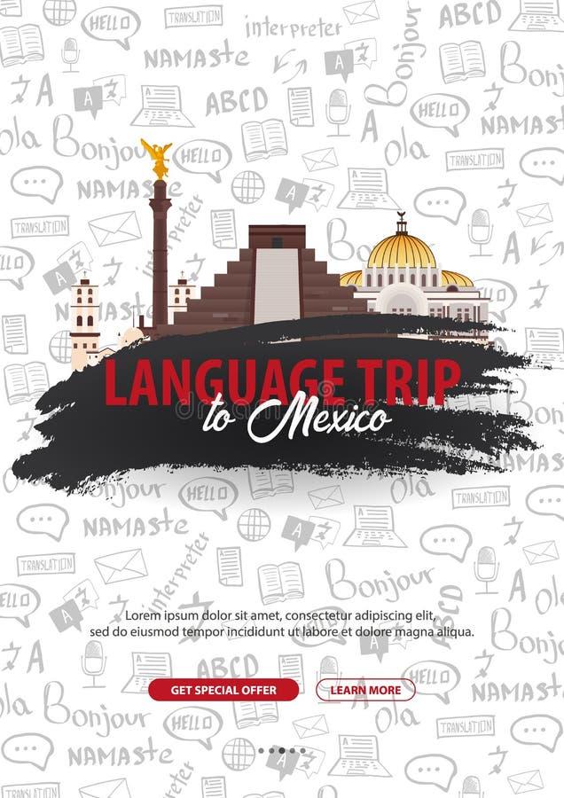 Viaje de la lengua, viaje, viaje a México Aprendizaje de idiomas Ejemplo del vector con los elementos del garabato del mano-drena stock de ilustración