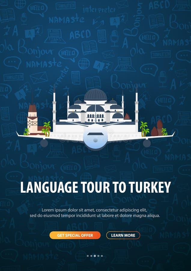 Viaje de la lengua, viaje, viaje a Turquía Aprendizaje de idiomas Ejemplo del vector con los elementos del garabato del mano-dren stock de ilustración