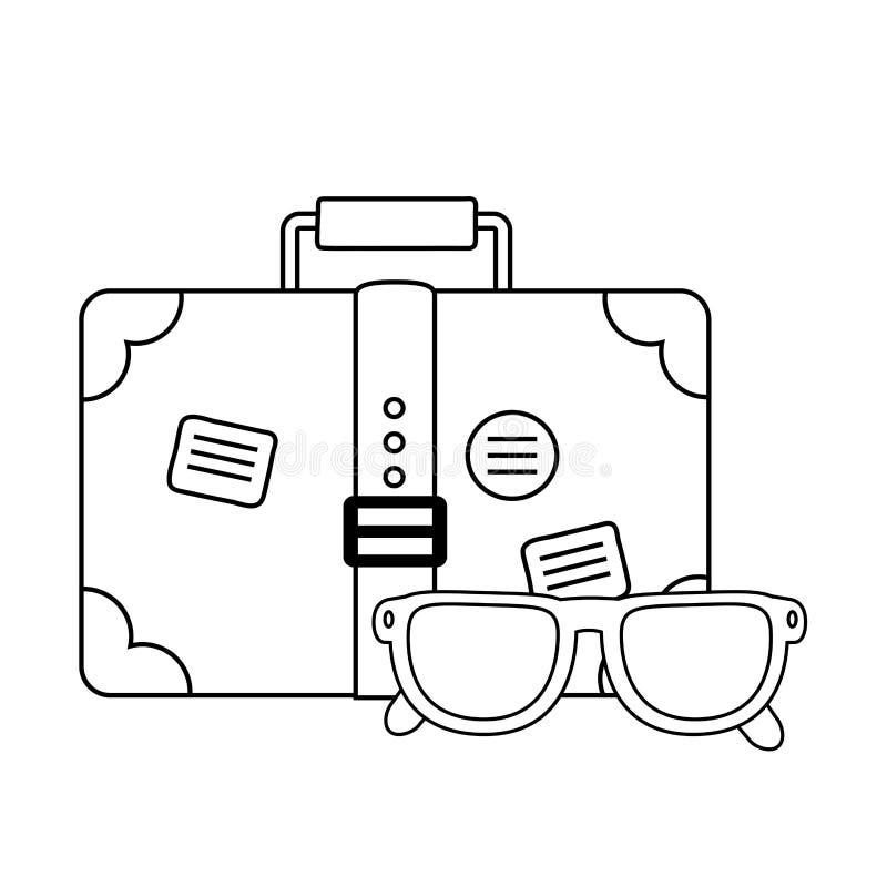 Viaje de la maleta con las lentes ilustración del vector
