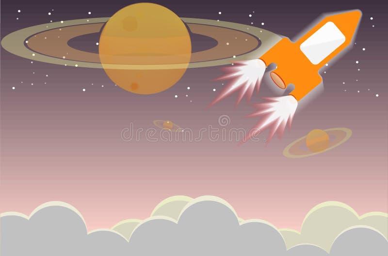 Viaje de la nave espacial con vector de la escena de la noche libre illustration