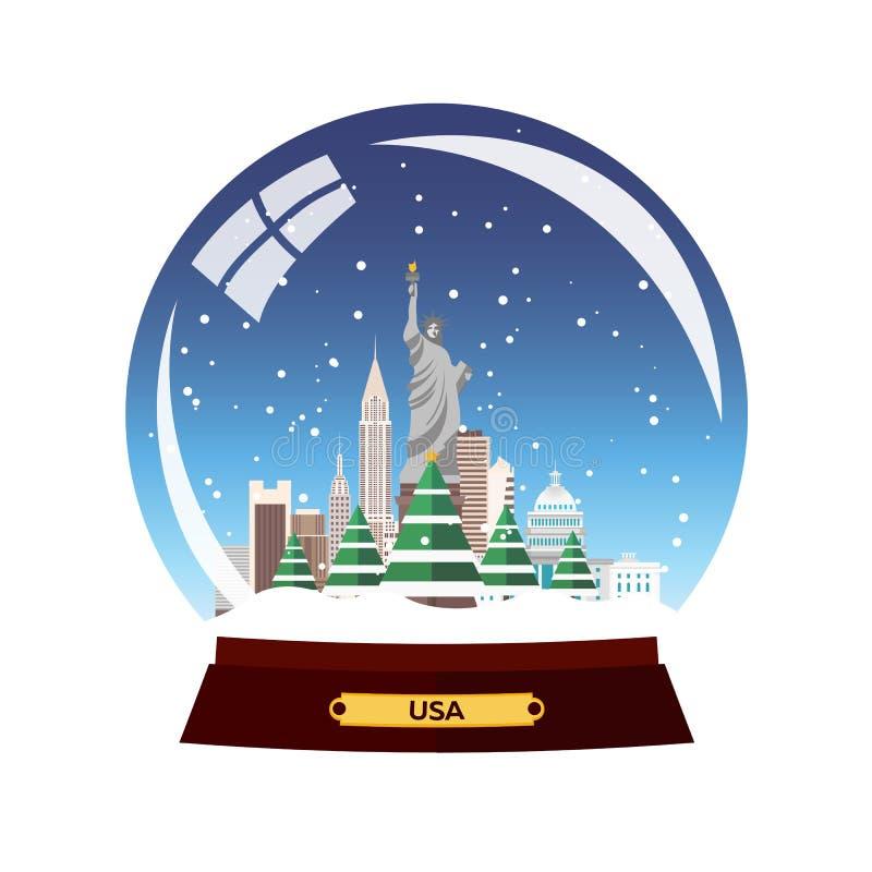 Viaje de la Navidad a los E.E.U.U., Nueva York Globo de la nieve Ejemplo plano del vector Viajes stock de ilustración
