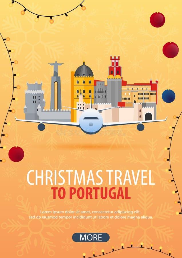 Viaje de la Navidad a Portugal Nieve y rocas del barco Ilustración del vector stock de ilustración