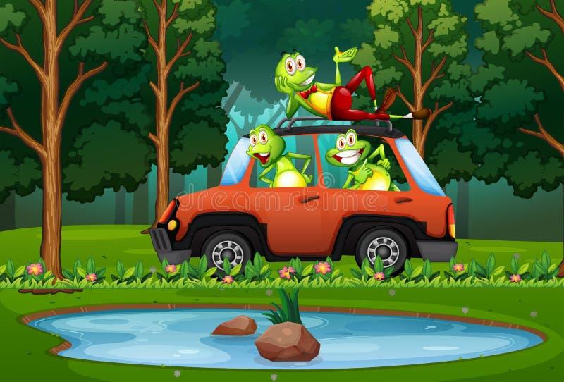 Viaje de la rana en coche en bosque stock de ilustración