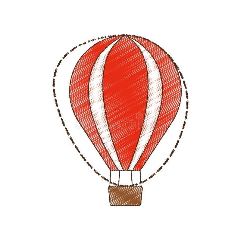viaje de las vacaciones de la reconstrucción del airballoon del dibujo stock de ilustración