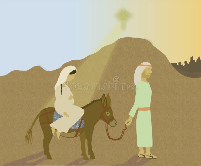 Viaje de Maria y de José a Belén stock de ilustración