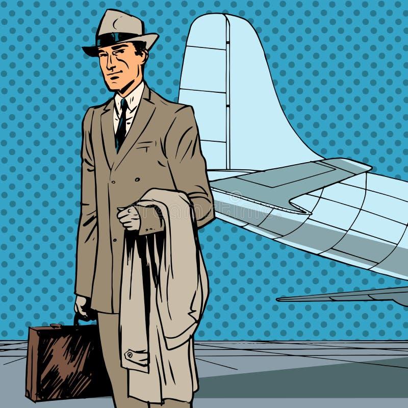 Viaje de negocios masculino del viajero del aire del pasajero stock de ilustración
