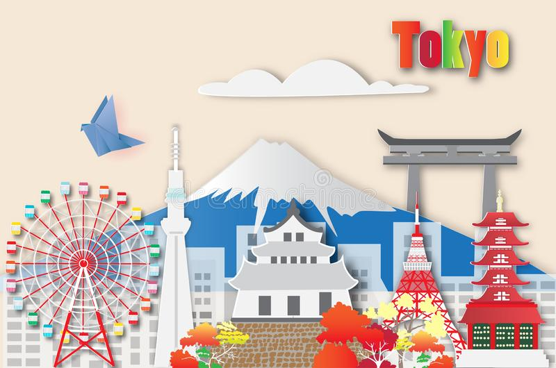 Viaje de Tokio, ejemplo del vector foto de archivo libre de regalías