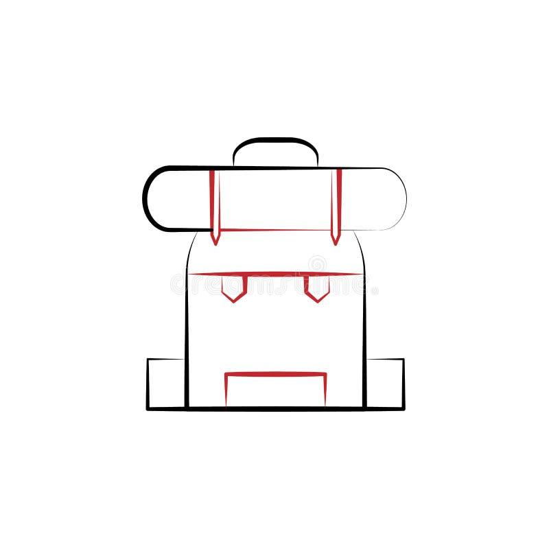 Viaje del Año Nuevo, línea coloreada icono de la mochila 2 Ejemplo exhausto del elemento de color de la mano simple diseño del sí stock de ilustración