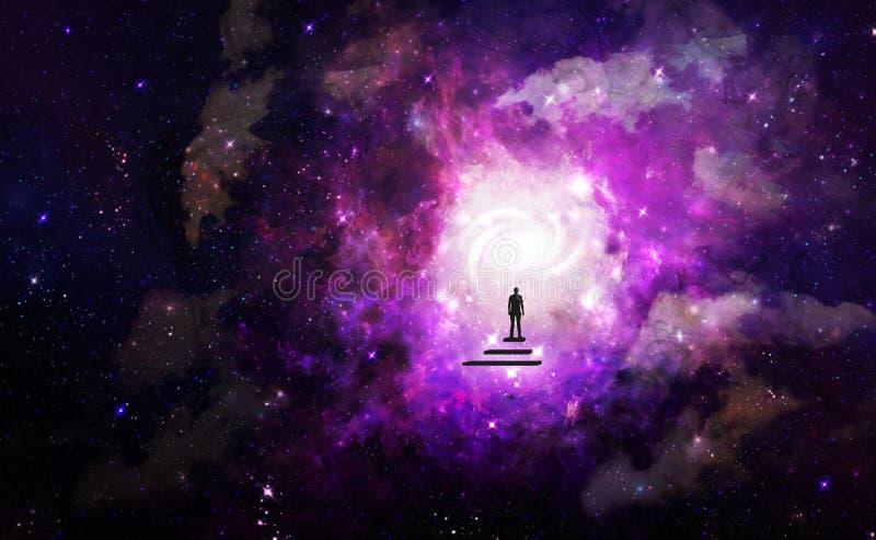 Viaje del alma del hombre, porta a otro papel pintado del universo ilustración del vector