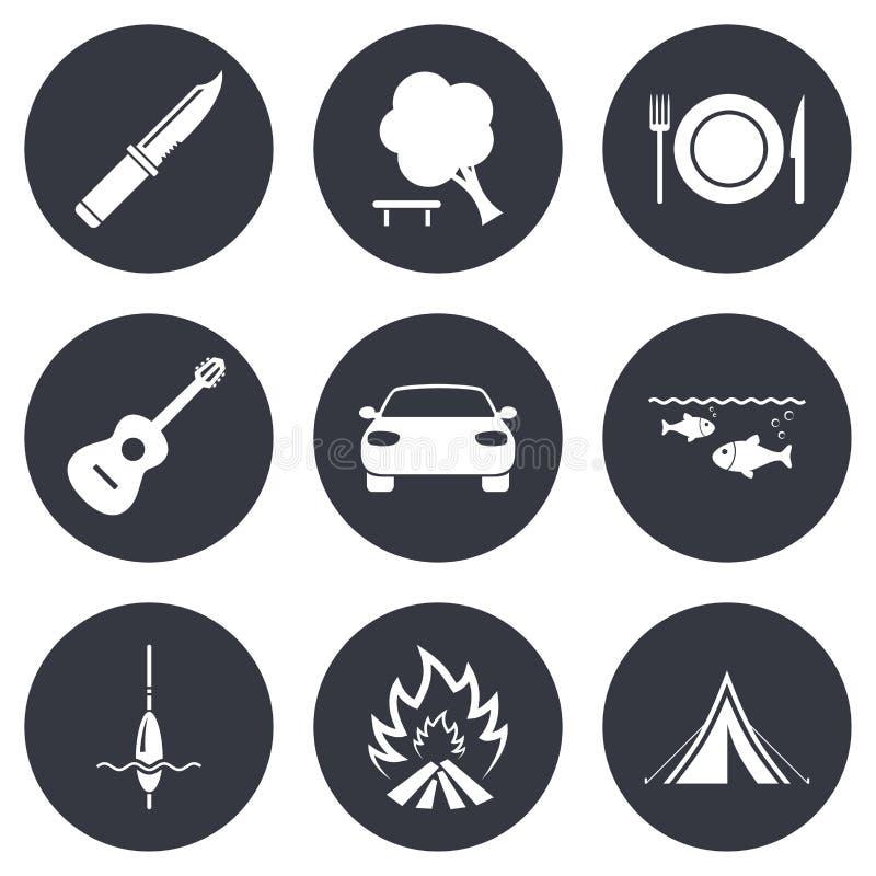 Viaje del alza, iconos que acampan Pesca, tienda turística stock de ilustración