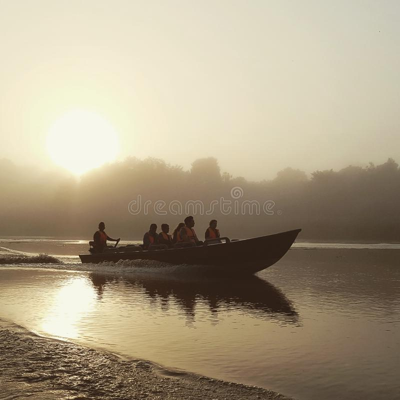 Viaje del barco de Susnet en el río de Kinabatangan fotos de archivo libres de regalías