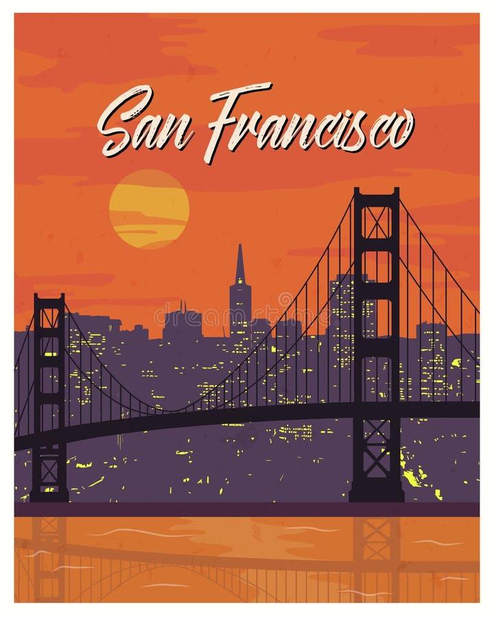 Viaje del cartel del vintage de San Francisco stock de ilustración