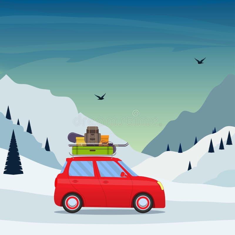 Viaje del día de fiesta del esquí del invierno a las montañas Pequeño coche lindo con el esquí y la snowboard, mochila y maleta e ilustración del vector