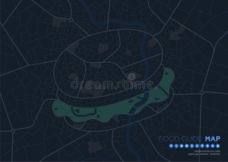 Viaje del mapa de la guía de la comida con el concepto del icono, diseño de la forma de la hamburguesa del camino en el ejemplo d libre illustration