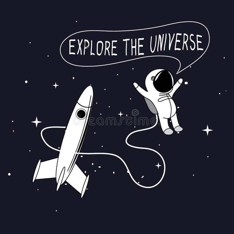 viaje del Niño-astronauta en espacio exterior stock de ilustración