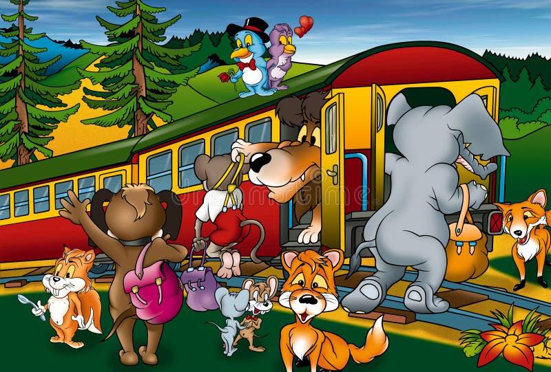 Viaje del tren stock de ilustración