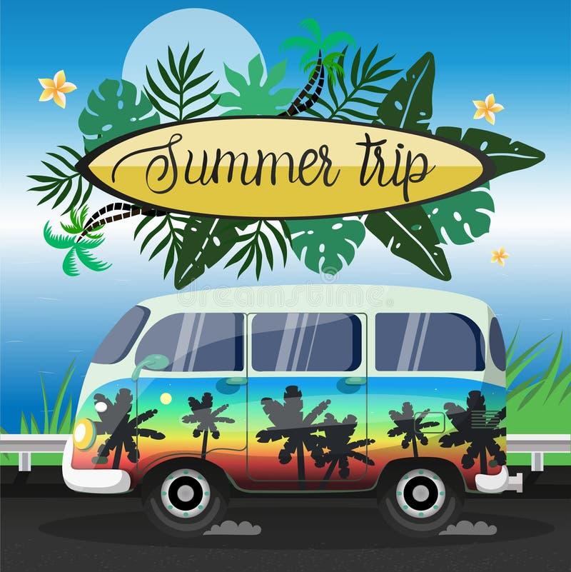 Viaje del verano en un aviador pintado grande del vector del microbús libre illustration