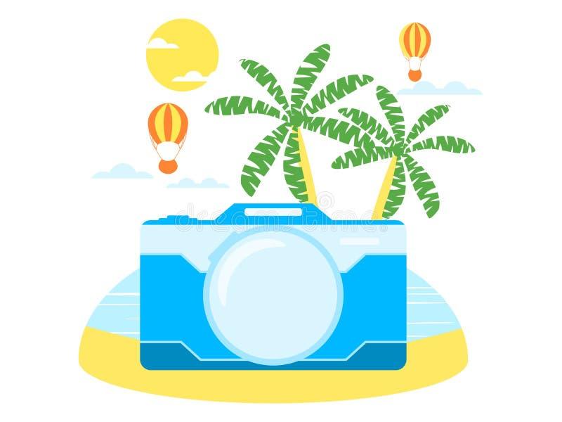 Viaje del verano, turismo Collage con la cámara, las palmeras y la isla exótica Estación turística Vector libre illustration