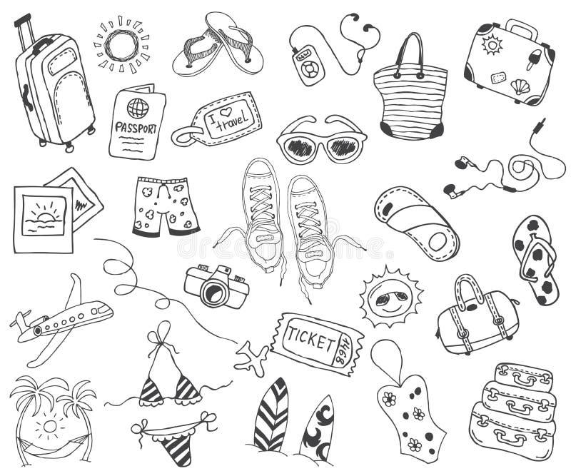 Viaje dibujado mano, vacaciones, viaje, colección de los iconos del garabato de la playa en blanco detrás stock de ilustración