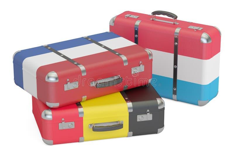 Viaje em torno do conceito de Europa, malas de viagem com as bandeiras de Bélgica, N ilustração stock