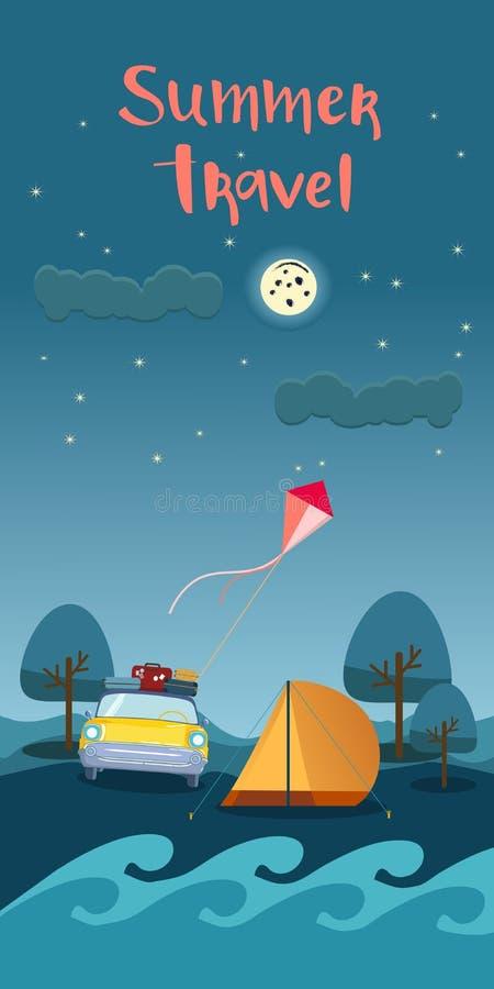 Viaje en coche con el folleto del diseño del turismo del texto del viaje del verano con el coche retro, cometa, tienda del campo  libre illustration