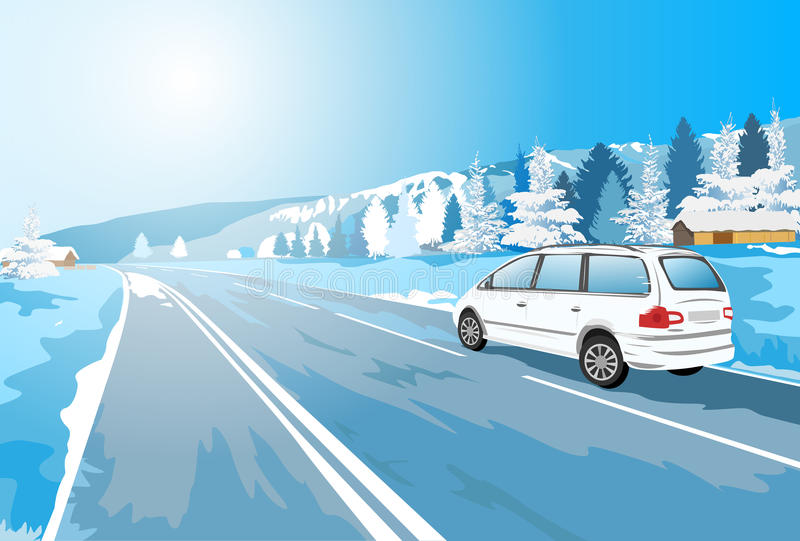 Viaje en coche de las montañas stock de ilustración