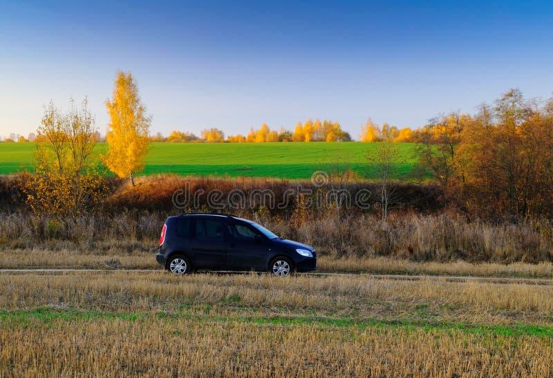 Viaje en coche en el camino con los árboles del campo y del otoño en la luz caliente de la puesta del sol fotos de archivo