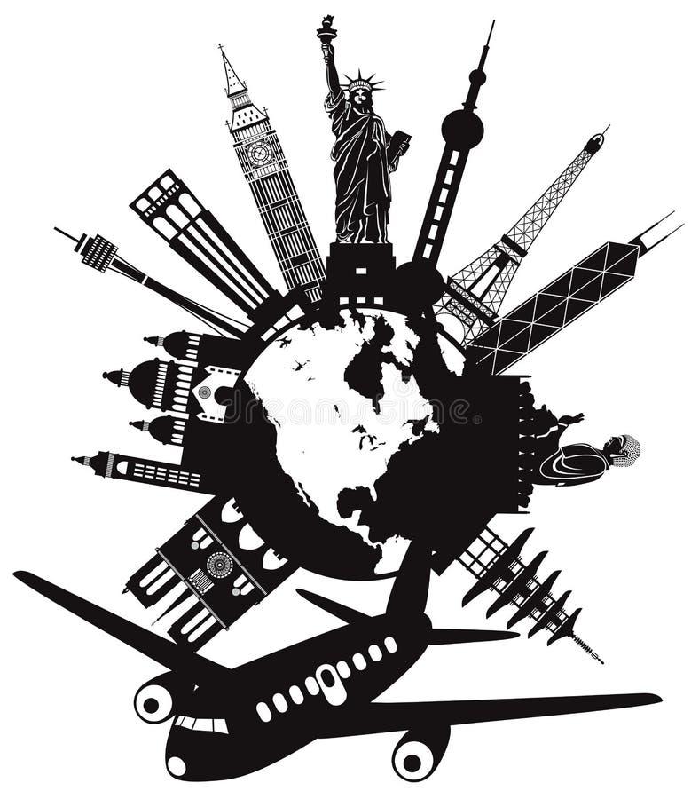 Viaje en todo el mundo por el ejemplo del vector del aeroplano libre illustration