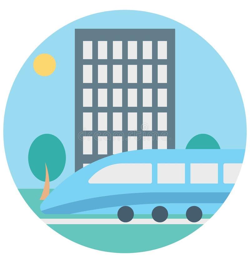 Viaje en tranvía el uso editable del icono del color del ejemplo y especial fácil aislado vector para el ocio, viaje y viaje libre illustration