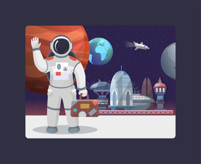 Viaje espacial, galaxia y cosmos, viajes al ejemplo del vector de la luna Astronauta con el suitecase que agita en espacio exteri ilustración del vector