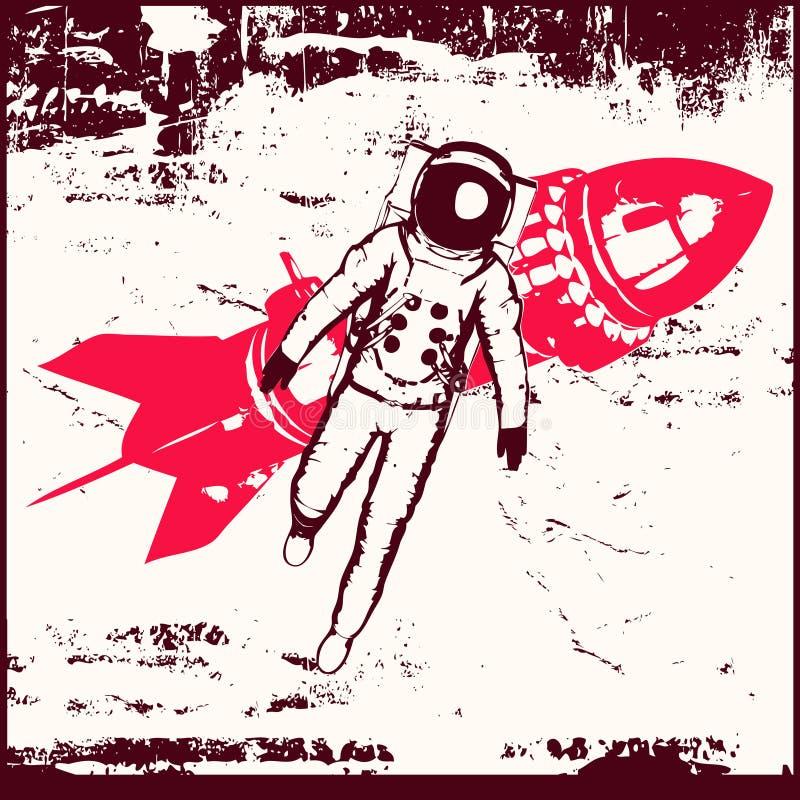 Viaje espacial retro stock de ilustración