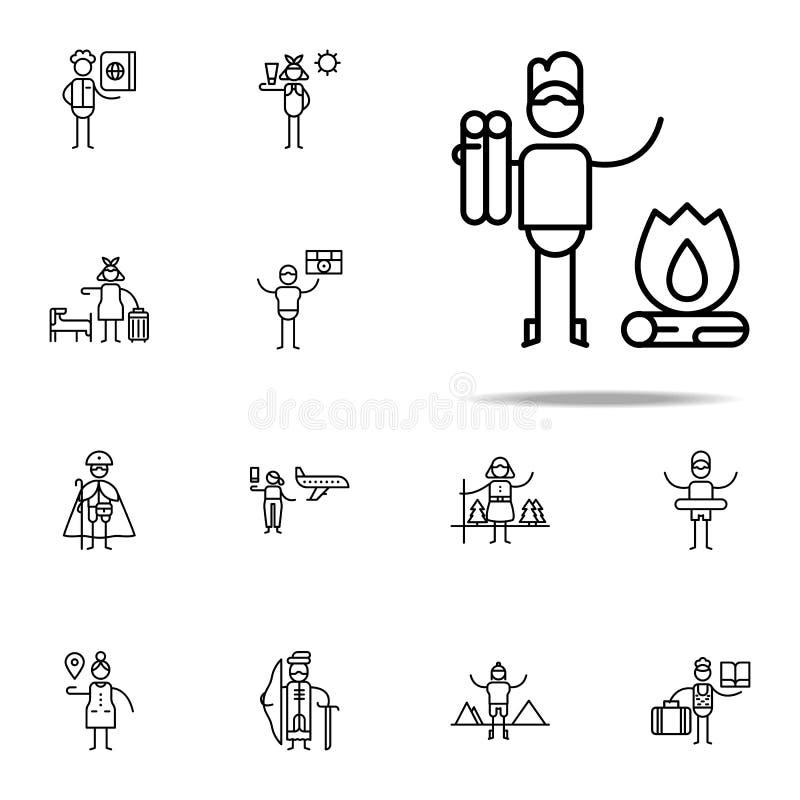 Viaje, excursión, icono de la naturaleza Sistema universal de los iconos del viaje para el web y el móvil libre illustration