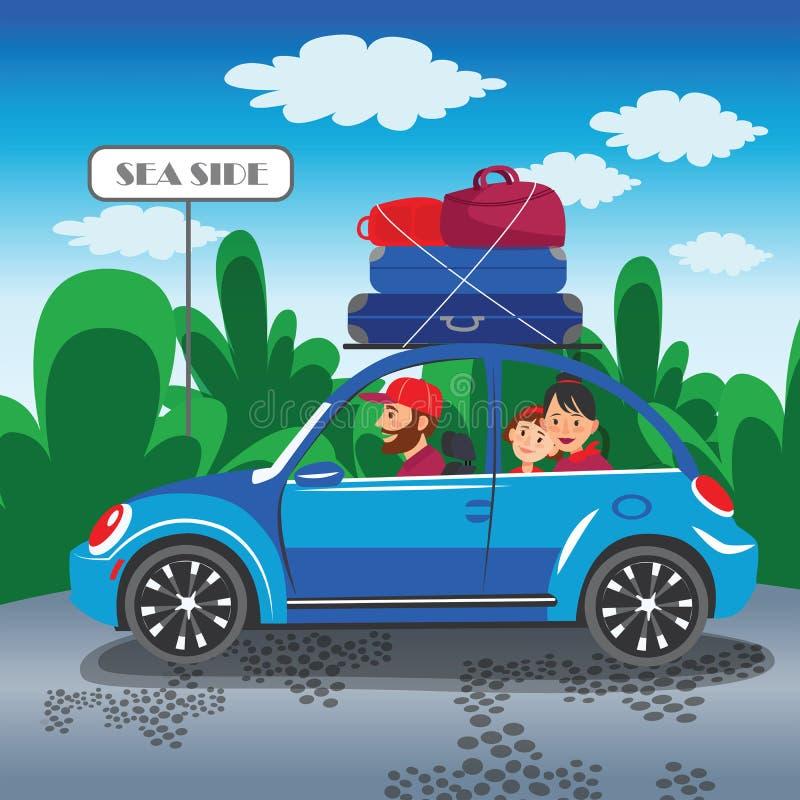 Viaje feliz de la familia en una familia del coche que viaja en coche la familia stock de ilustración