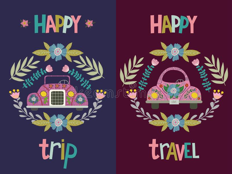 Viaje feliz y viaje feliz, sistema de la mano que dibuja el coche lindo de la historieta con elementos y modelos florales Plano p ilustración del vector