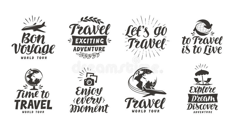 Viaje, iconos determinados de la aventura Letras manuscritas Ejemplo del vector de la etiqueta libre illustration
