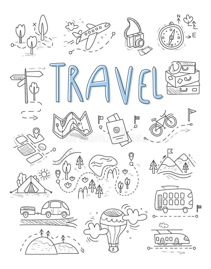 Viaje, iconos que acampan en sistema del estilo del garabato gran ilustración del vector
