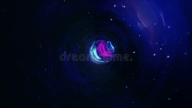 Viaje incons?til a trav?s de un wormhole a trav?s del tiempo y del espacio llenados de millones de estrellas y de nebulosas Espac libre illustration