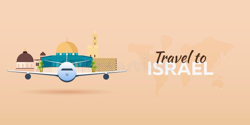 Viaje a Israel Aeroplano con las atracciones Banderas del recorrido Estilo plano ilustración del vector