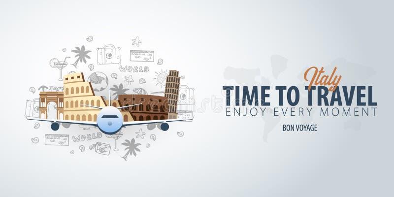 Viaje a Italia Hora de viajar Bandera con el aeroplano y garabatos del mano-drenaje en el fondo Ilustración del vector libre illustration