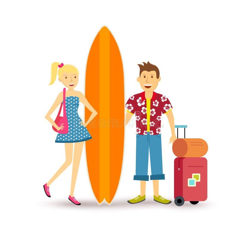 Viaje joven del verano del día de fiesta de la resaca de los pares felices stock de ilustración