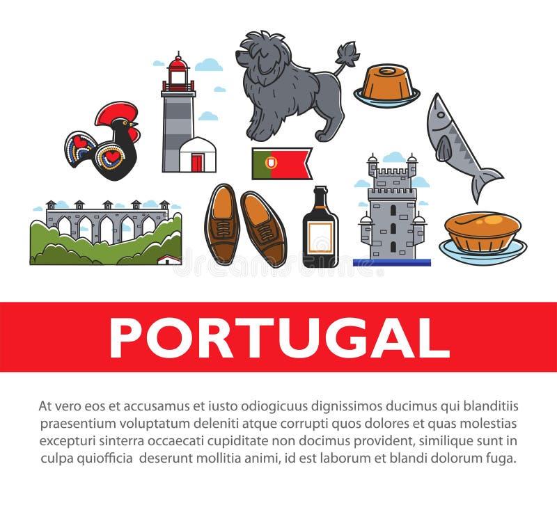 Viaje a la arquitectura portuguesa de los símbolos de Portugal y animal y calzado de la cocina stock de ilustración