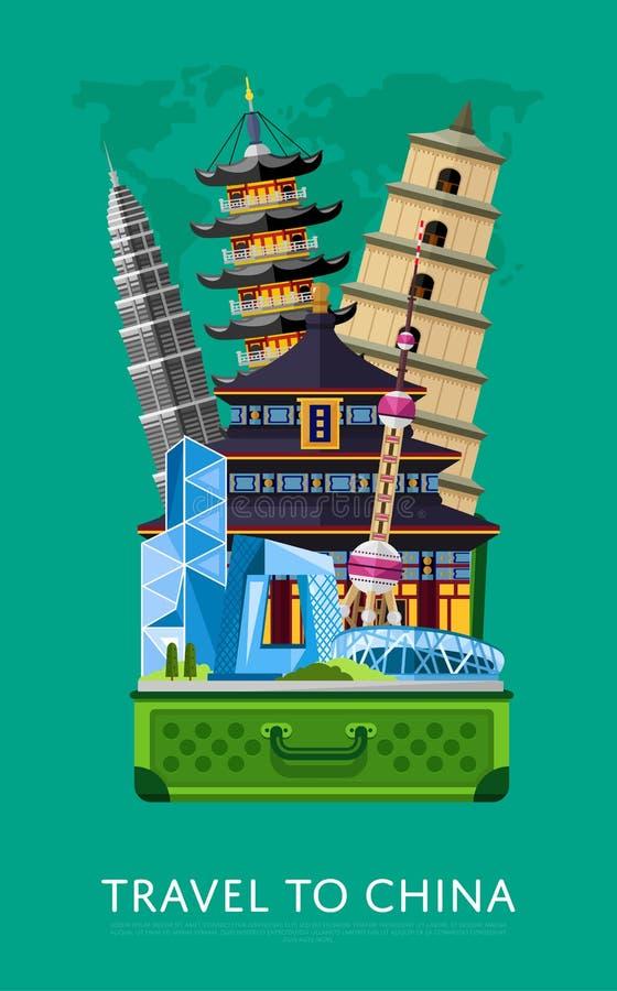 Viaje a la bandera de China con los edificios famosos stock de ilustración
