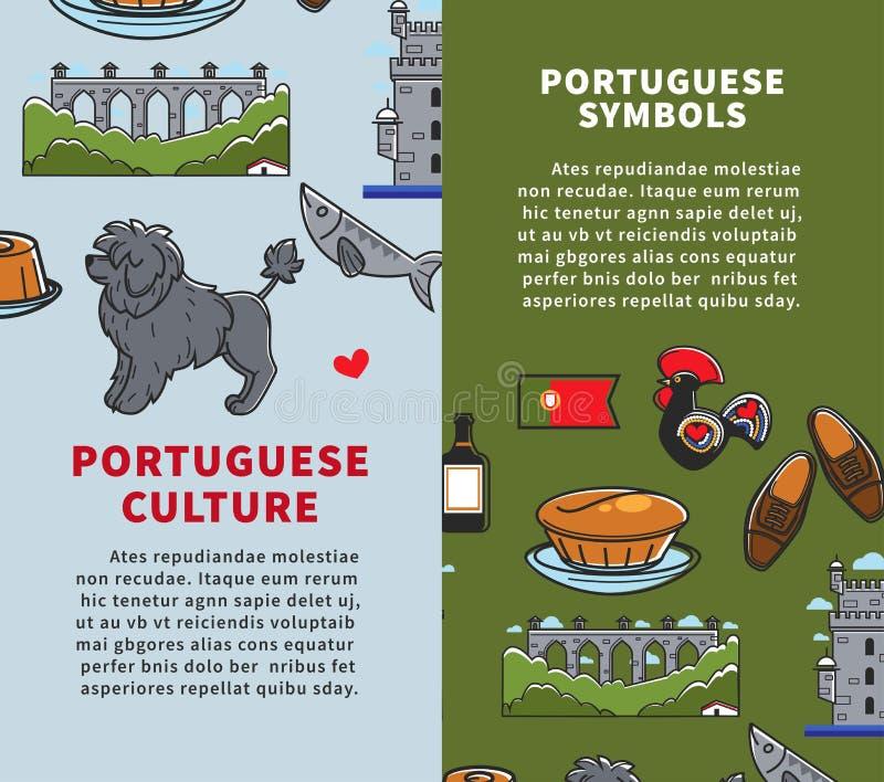 Viaje a la cultura de Portugal y arquitectura y cocina portuguesas de los símbolos stock de ilustración