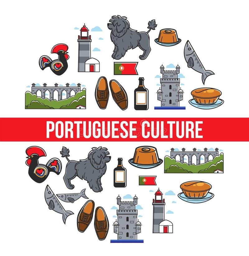 Viaje a la cultura de Portugal y el viajar y turismo portugueses de los símbolos libre illustration